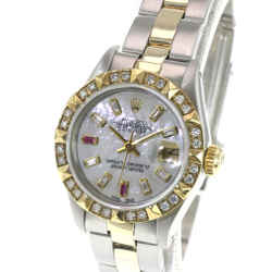 Rolex Lady Datejust White MOP Ruby Dial Diamond Bezel  26mm Oyster Band