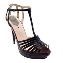 Fendi Burgundy and Grey Lizard Embossed T Strap Sandals
