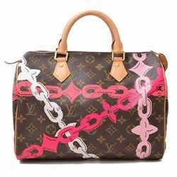 Auth Louis Vuitton Louis Vuitton Monogram Bay Chain Pattern Speedy 30 Pink Handb