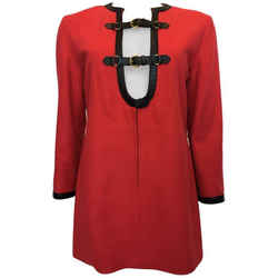 Herms 1970's Crimson Red Tunic Top With Black Leather Strapping