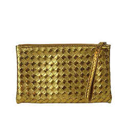 Bottega Veneta Women's Woven Wristlet Gold Python / Leather Clutch Bag 325420
