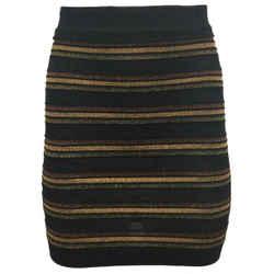 Balmain Black / Gold / Bronze Metallic Striped Knit Skirt