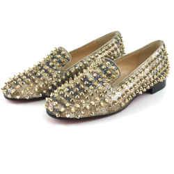 Christian Louboutin Gold Glitter Rolling Spikes Dandelion Flats