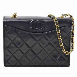 Auth Chanel Lamb Single Flap Chain Shoulder Leather Bag