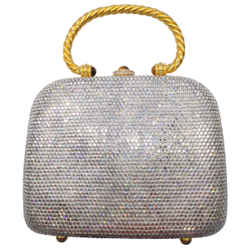 Judith Leiber Crystal Embellished Mini Silver Swarovski Clutch