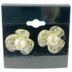Chanel Rare Clear 03p CC Flower Earrings Pierce Pierced 861938