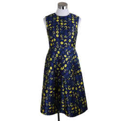 Carolina Herrera Navy Polyester Viscose Yellow Print Dress Sz 6