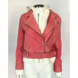$1395 New Nwt Iro Layered White Pink Suede Leather Hooded Biker Jacket Sz 2/38