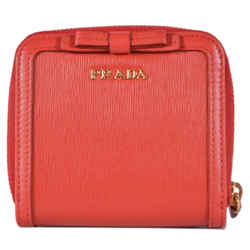 New Prada Lacca Red Vitello Move Leather Zip Bifold Wallet Card Case Clutch
