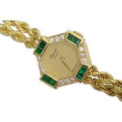Authentic Chopard Geneve Vintage Watch Diamond Emerald 18k Gold Ladies Luc Overhauled 422146 203 3 3991