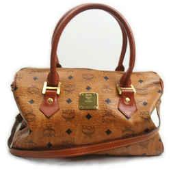 MCM Cognac Monogram Visetos Boston Duffle Bag with Strap 862419