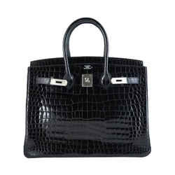 Hermes Birkin 35 Black Porosus Crocodile Alligator Palladium Hardware