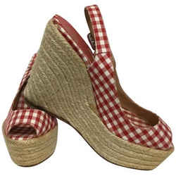 Christian Louboutin Red And White Gingham Slingback Peep Wedges Size: EU 38 (Approx. US 8) Regular (M, B) Item #: 25526960