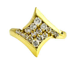 Pave Diamond Geometric Statement Ring in 18k Yellow Gold ( .60 ct tw )