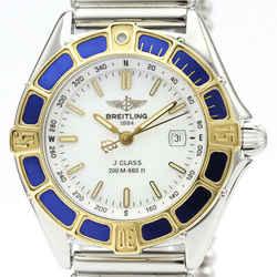 Polished BREITLING Lady J 18K Gold Steel Quartz Ladies Watch D52065 BF516468