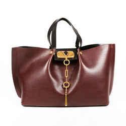 Valentino Bag VLogo Escape Shopper Medium Purple Red Leather Tote