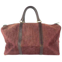 Dior      Burgundy Burgundy Medium Embossed Suede Boston Duffle 13DR1116