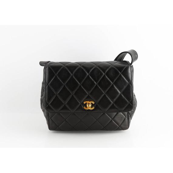 Chanel Vintage Black Quilted Lambskin Turn Lock Shoulder Bag