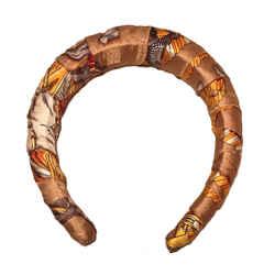 Hermes Handmade Vintage Gold Les Fetes Du Roi Soleil Silk Scarf Wrapped Padded Headband Crown