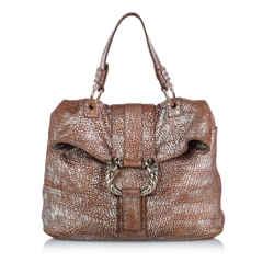 Vintage Authentic Bvlgari Brown  Leather Metallic Leoni Italy W/ Dust Bag