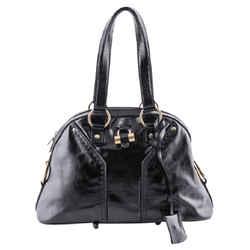 """Saint Laurent Yves Patent Leather Large Muse Dome Black Satchel 16""""l X 11.5""""h X 6""""w"""