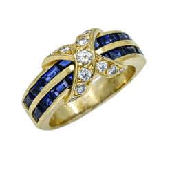 Tiffany & Co. Diamond Sapphire X Band Ring  in 18k Yellow Gold