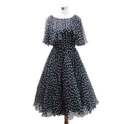 Dolce & Gabbana Black White Polka Dot Silk Dress sz 40