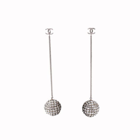 Chanel Strass Sphere Cc Drop Earrings