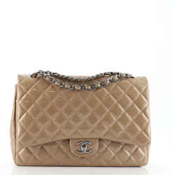 Classic Double Flap Bag Quilted Patent Maxi