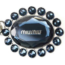 Miu Miu Trick Metallo Oval Crystal Dark Blue Plex Charm Key Chain Key Ring 5tm092