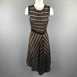 Escada Size S Black Striped Mesh Sleeveless Fit Flair Dress