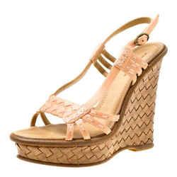 Bottega Veneta Peach Pink Leather Slingback Platform Wedge Sandals Size 36.5