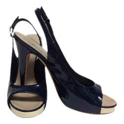 Chanel Navy Patent Leather Slingback with Cream Platform Sandals Size: EU 40 (Approx. US 10) Regular (M, B) Item #: 21586400
