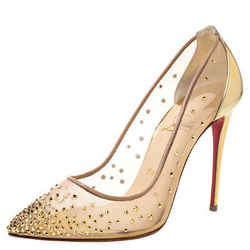Christian Louboutin Gold Mesh And Leather Trim Follies Strass Pointed Toe Pumps