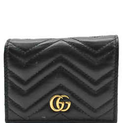GUCCI  Marmont GG Matelasse Leather Card Case Wallet Black 466492