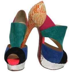Christian Louboutin Multi Color Suede Peep with Silver Snakeskin Platform Pumps Size: EU 35.5 (Approx. US 5.5) Regular (M, B) Item #: 24353847