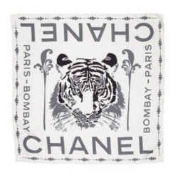 Chanel Paris-Bombay Ivory Charcoal 100% Silk Scarf Metiers d'Art Collection
