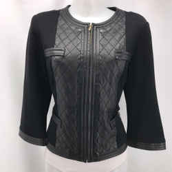St John Black Leather Trim Jacket 8