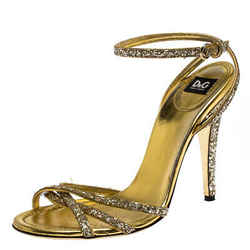 Dolce & Gabbana Gold Strappy Glitter and Leather Open Toe Ankle Strap Sandal