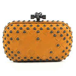 Bottega Veneta - Knot Clutch - Studded Orange Leather - Twist Clasp
