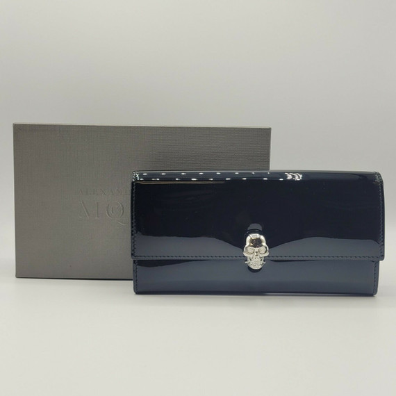 Alexander Mcqueen Blk Patent Leather Silver Skull Continental Wallet 275330 1000