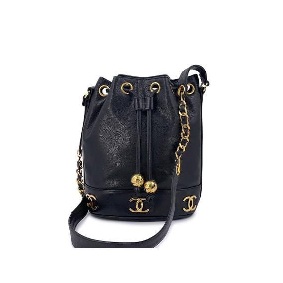 Chanel Vintage Black Caviar Drawstring Bucket Bag Small 24k GHW