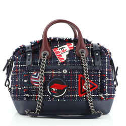Crest Trip Bowling Bag Patch Embellished Tweed and Caviar Medium