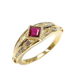 Vintage Authentic Piaget Gold  with Purple  Metal Ruby Diamond Ring Switzerland