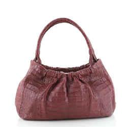 Shoulder Bag Pleated Crocodile Medium