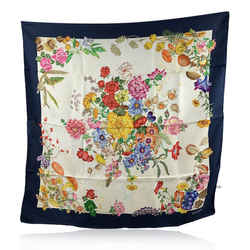 Gucci Vintage Blue Flowers Floral Silk Scarf with Defects