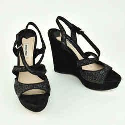 MIU MIU: Black, Leather & Glitter Wedge Sandals/Heels Sz: 7M