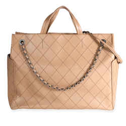 Chanel Beige Calfskin Leather Stitch Pocket Tote