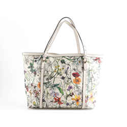 Gucci Leather Printed Medium Infinity Flora Nice Tote Off White