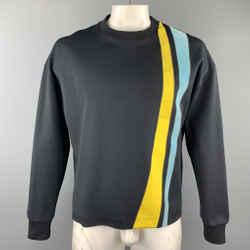 Jil Sander Size Xl Black Yellow And Blue Stripe Crew-neck Pullover